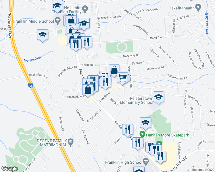 map of restaurants, bars, coffee shops, grocery stores, and more near 400-498 Chartley Park Drive in Reisterstown