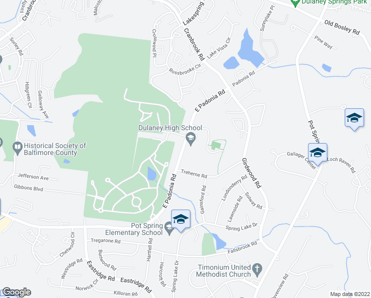 map of restaurants, bars, coffee shops, grocery stores, and more near 265-271 East Padonia Road in Lutherville-Timonium