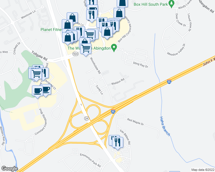 map of restaurants, bars, coffee shops, grocery stores, and more near 3583-3595 Woodsdale Road in Abingdon