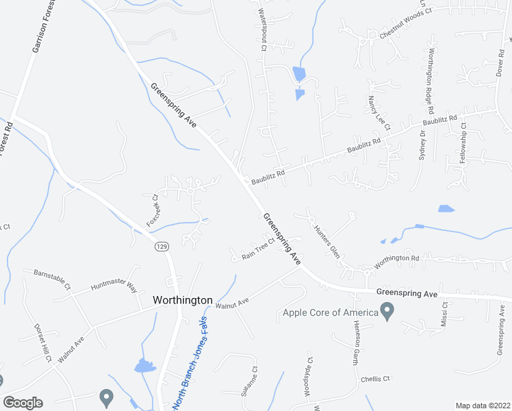 map of restaurants, bars, coffee shops, grocery stores, and more near 12544 Greenspring Avenue in Owings Mills