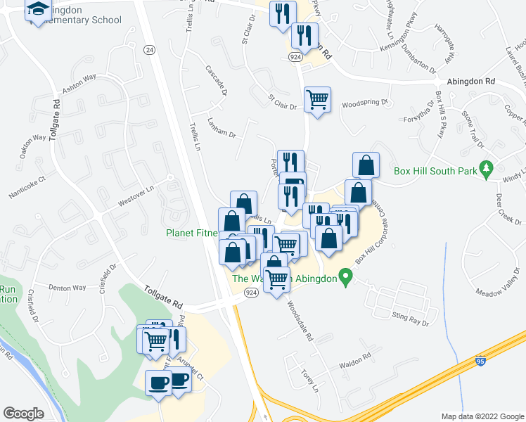 map of restaurants, bars, coffee shops, grocery stores, and more near 3405 Brooks Ave in Abingdon