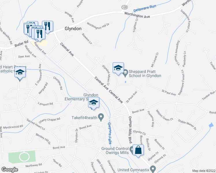 map of restaurants, bars, coffee shops, grocery stores, and more near 346 Central Ave in Reisterstown