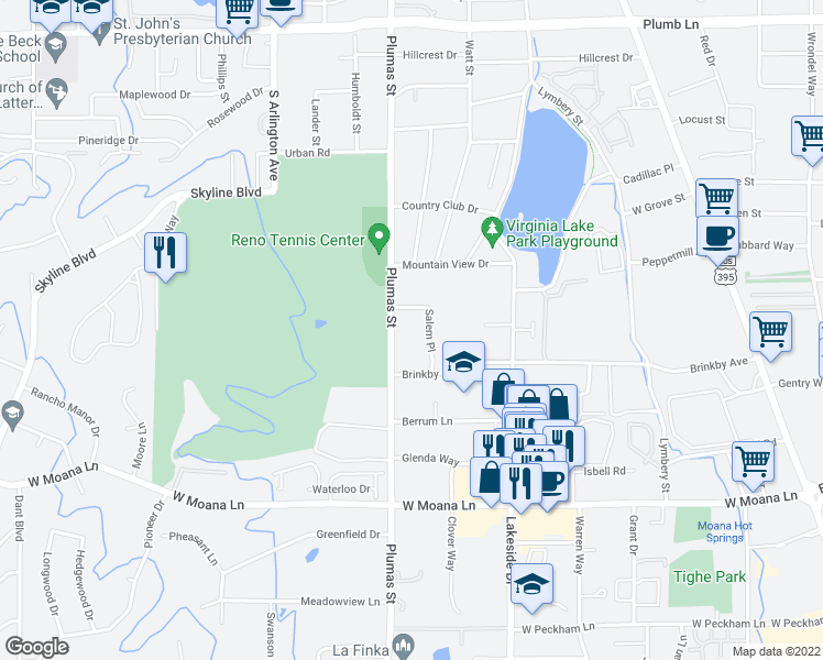 map of restaurants, bars, coffee shops, grocery stores, and more near 2796 Plumas Street in Reno