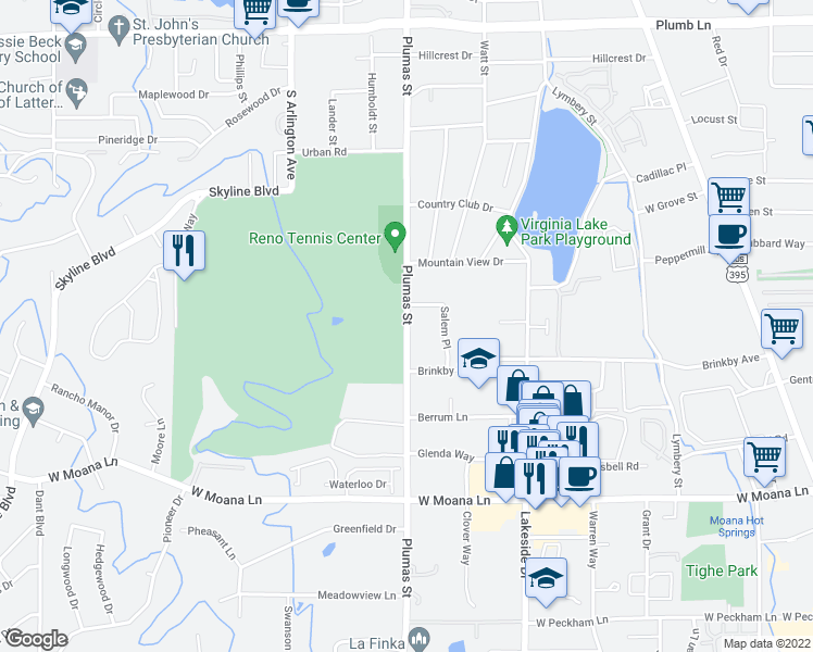 map of restaurants, bars, coffee shops, grocery stores, and more near 2760 Plumas Street in Reno