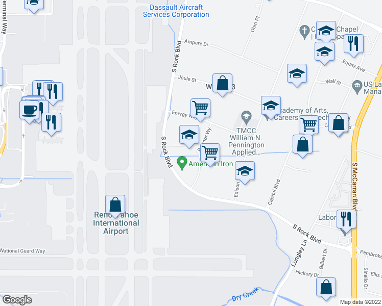 map of restaurants, bars, coffee shops, grocery stores, and more near 565 Reactor Way in Reno