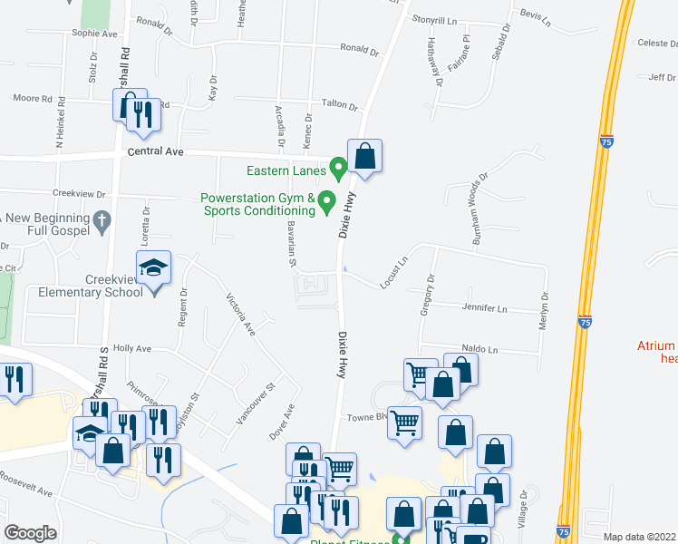 map of restaurants, bars, coffee shops, grocery stores, and more near S Dixie Hwy & Bavarian St in Middletown