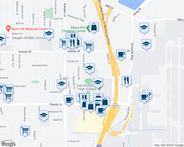 map of restaurants, bars, coffee shops, grocery stores, and more near 1901 Villanova Dr in Reno