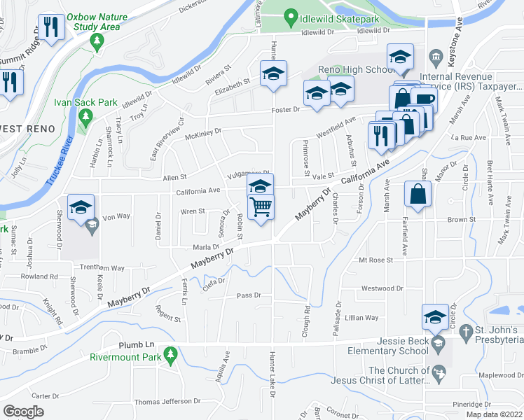 map of restaurants, bars, coffee shops, grocery stores, and more near 909 Hunter Lake Dr in Reno