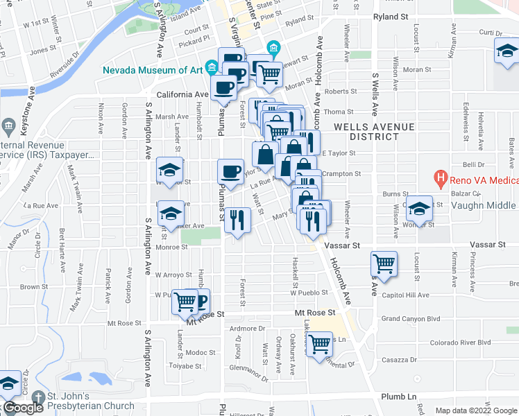 map of restaurants, bars, coffee shops, grocery stores, and more near 196 Martin St in Reno