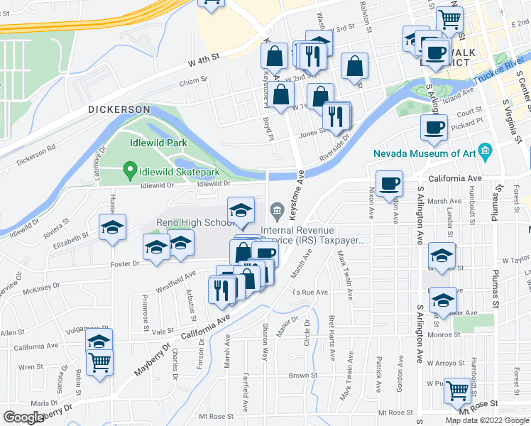 map of restaurants, bars, coffee shops, grocery stores, and more near 220 Booth Street in Reno