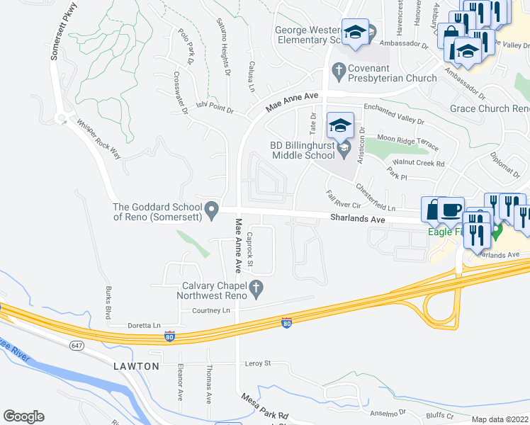 map of restaurants, bars, coffee shops, grocery stores, and more near 6850 Sharlands Avenue in Reno