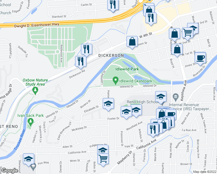 map of restaurants, bars, coffee shops, grocery stores, and more near Idlewild Dr & Hunter Lake Dr in Reno