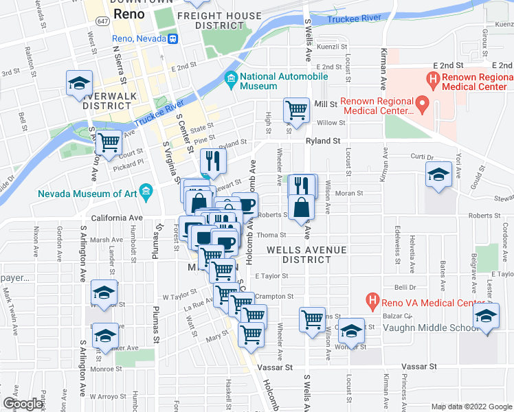 map of restaurants, bars, coffee shops, grocery stores, and more near 516 Holcomb Avenue in Reno