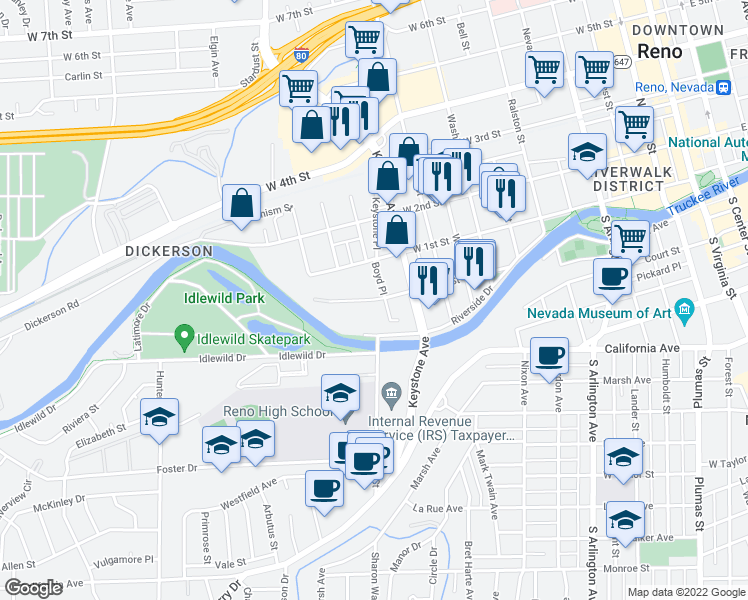 map of restaurants, bars, coffee shops, grocery stores, and more near 1037 Jones Street in Reno