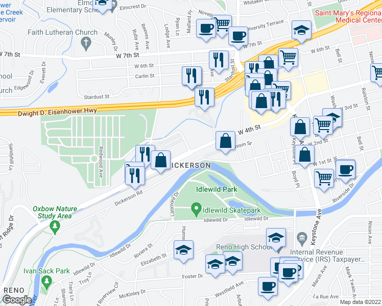 map of restaurants, bars, coffee shops, grocery stores, and more near W 4th St & Cemetery Rd in Reno