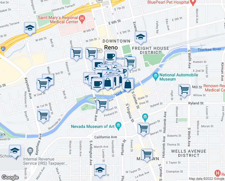 map of restaurants, bars, coffee shops, grocery stores, and more near 50 North Sierra Street in Reno