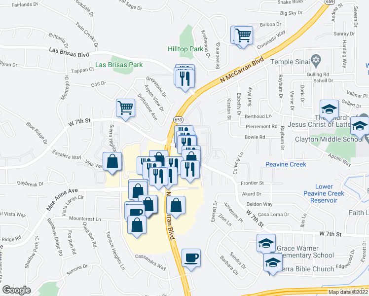 map of restaurants, bars, coffee shops, grocery stores, and more near 4995 West 7th Street in Reno
