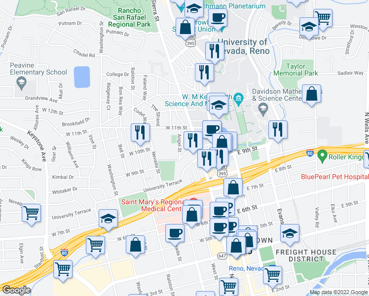 map of restaurants, bars, coffee shops, grocery stores, and more near 201 W 10th St in Reno