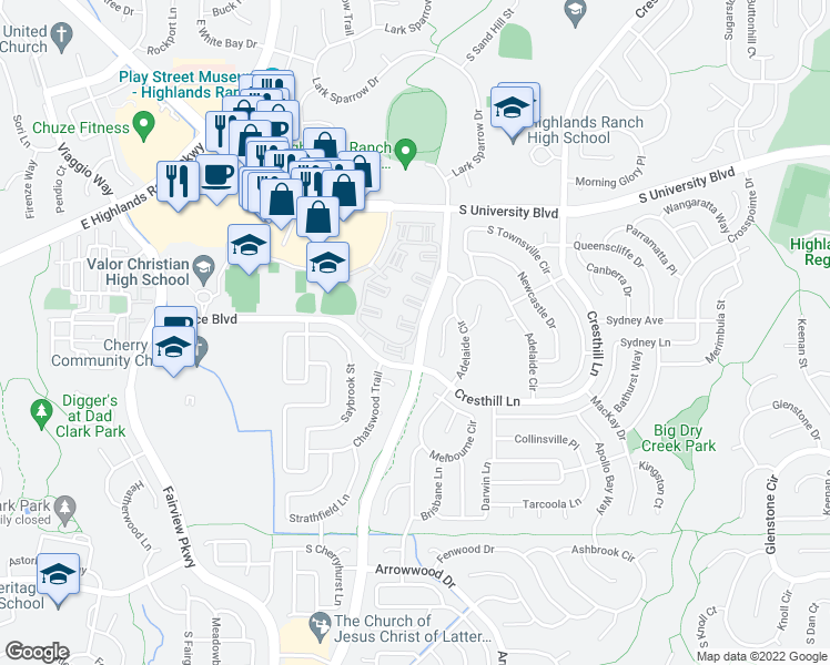 map of restaurants, bars, coffee shops, grocery stores, and more near 9675 S Timber Hawk Cir in Highlands Ranch