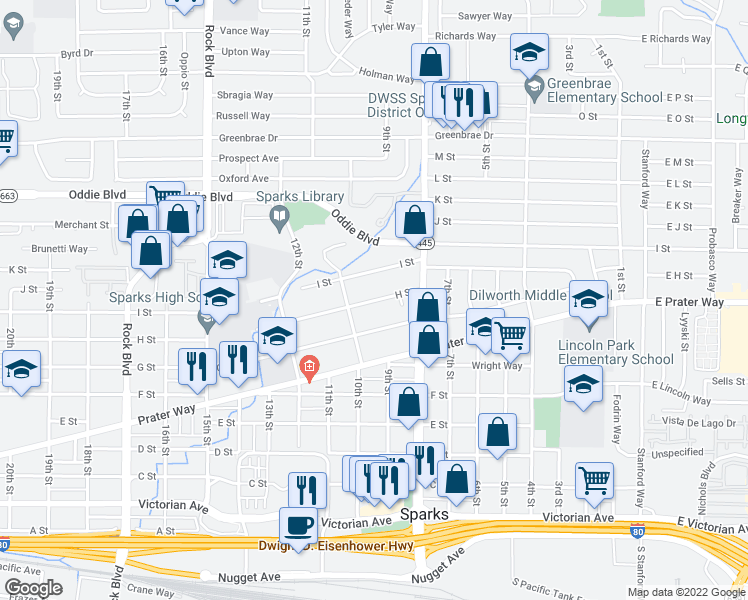 map of restaurants, bars, coffee shops, grocery stores, and more near 842 10th Street in Sparks