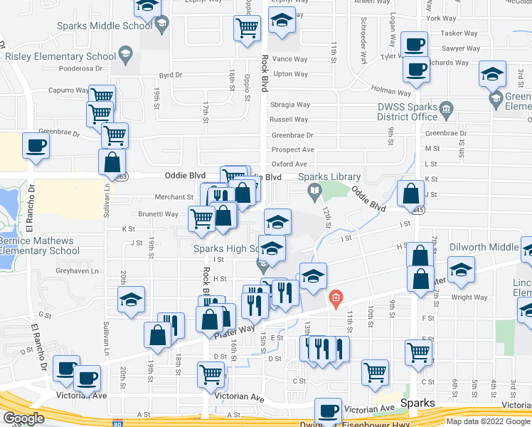 map of restaurants, bars, coffee shops, grocery stores, and more near 970-1010 15th Street in Sparks