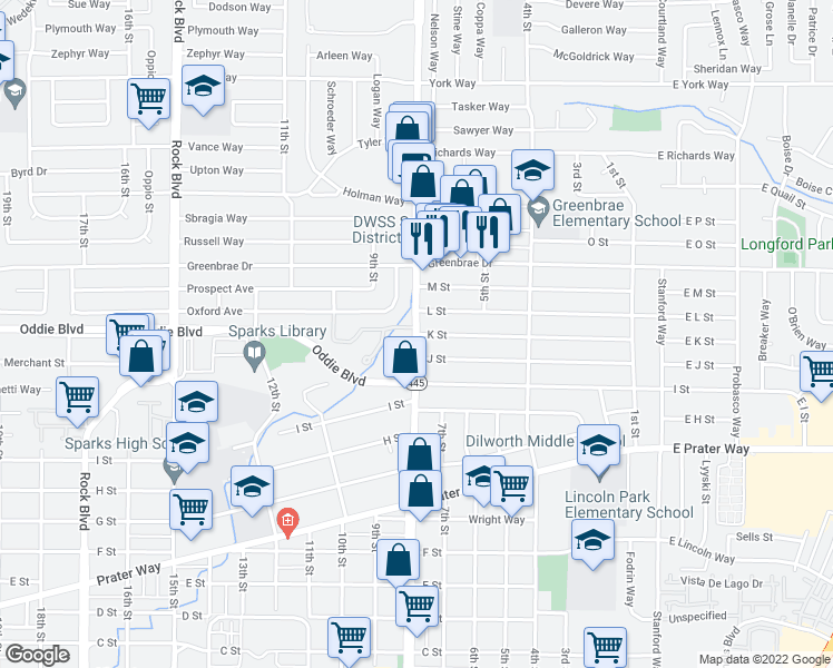 map of restaurants, bars, coffee shops, grocery stores, and more near 713 L Street in Sparks