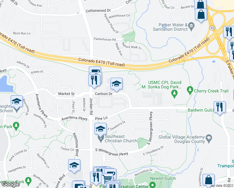 map of restaurants, bars, coffee shops, grocery stores, and more near E Carlson Dr in Parker