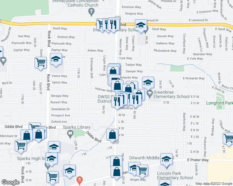 map of restaurants, bars, coffee shops, grocery stores, and more near 1604-1614 Pyramid Way in Sparks