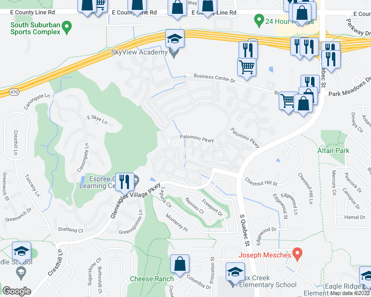 map of restaurants, bars, coffee shops, grocery stores, and more near Palomino Park Lane in Highlands Ranch