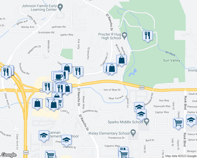 map of restaurants, bars, coffee shops, grocery stores, and more near 2991 Sage Mountain Lane in Sparks