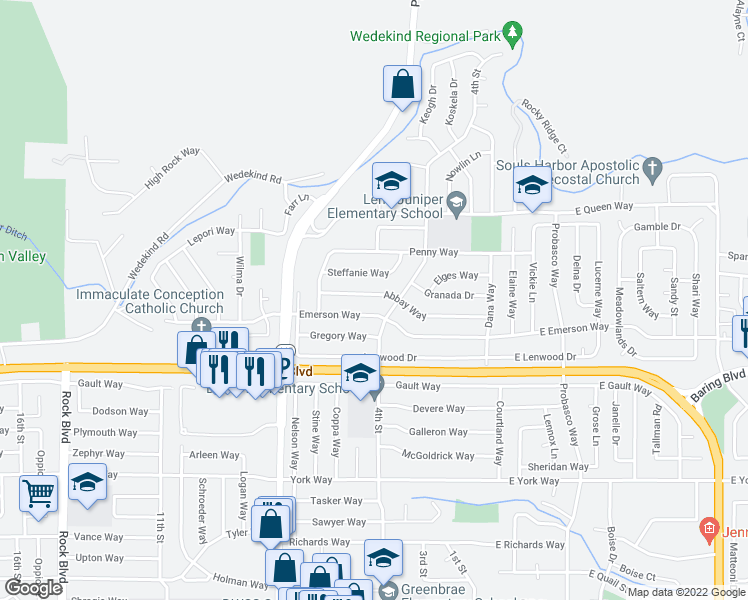 map of restaurants, bars, coffee shops, grocery stores, and more near 377-399 Emerson Way in Sparks