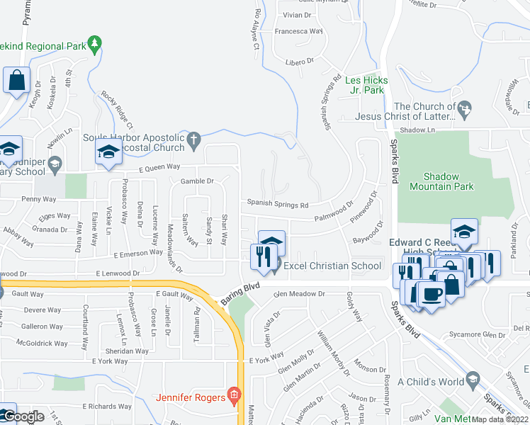 map of restaurants, bars, coffee shops, grocery stores, and more near 729 Palmwood Dr in Sparks