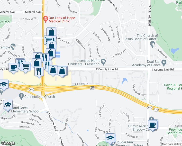 map of restaurants, bars, coffee shops, grocery stores, and more near 8437 South Harvest Lane in Highlands Ranch