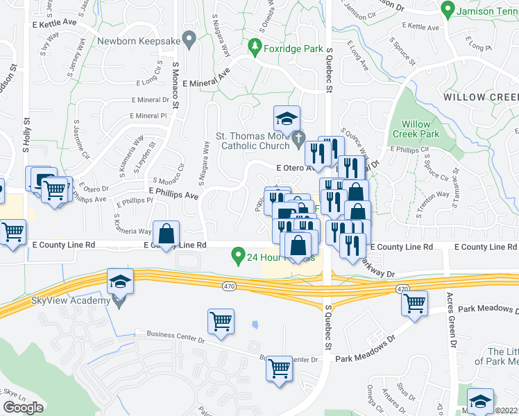 map of restaurants, bars, coffee shops, grocery stores, and more near 8195 S Poplar Way in Centennial