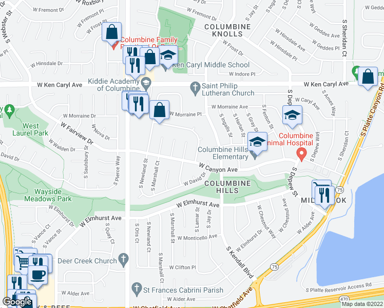 map of restaurants, bars, coffee shops, grocery stores, and more near in Littleton
