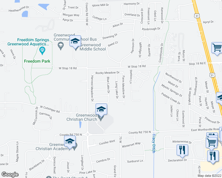 map of restaurants, bars, coffee shops, grocery stores, and more near 571 Blue Meadow Dr in Greenwood