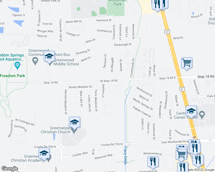 map of restaurants, bars, coffee shops, grocery stores, and more near 1630 Saddle Way in Greenwood