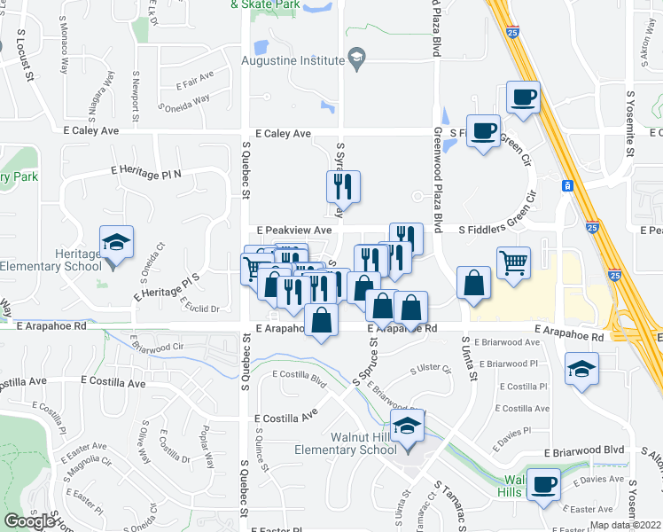 map of restaurants, bars, coffee shops, grocery stores, and more near 6482-6578 S Syracuse Way in Centennial