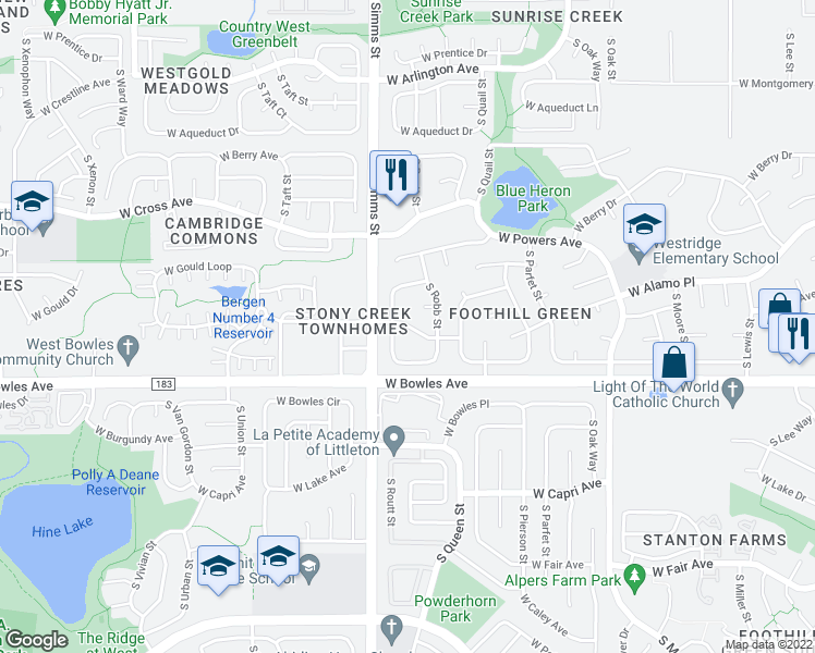 map of restaurants, bars, coffee shops, grocery stores, and more near 5764 South Routt Street in Littleton