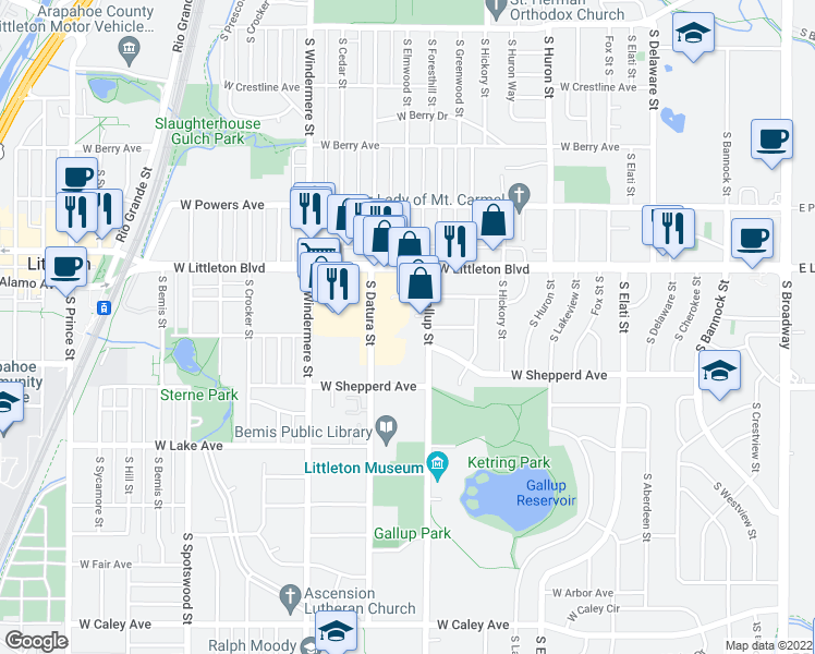 map of restaurants, bars, coffee shops, grocery stores, and more near 5755 South Gallup Street in Littleton