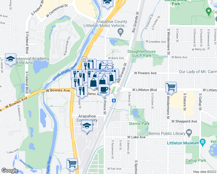 map of restaurants, bars, coffee shops, grocery stores, and more near 2310 West Main Street in Littleton