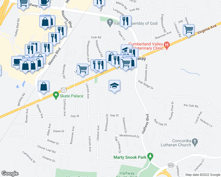 map of restaurants, bars, coffee shops, grocery stores, and more near 17559-17587 Lincolnshire Road in Hagerstown