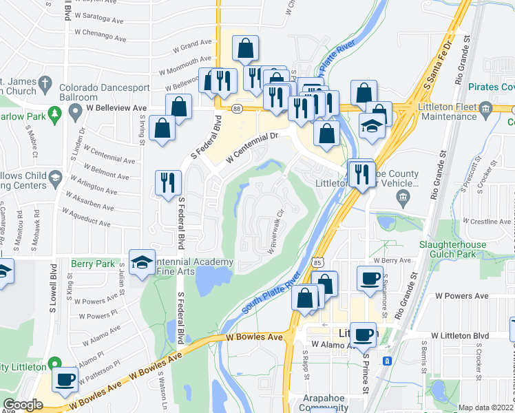 map of restaurants, bars, coffee shops, grocery stores, and more near 2895 W Riverwalk Cir in Littleton