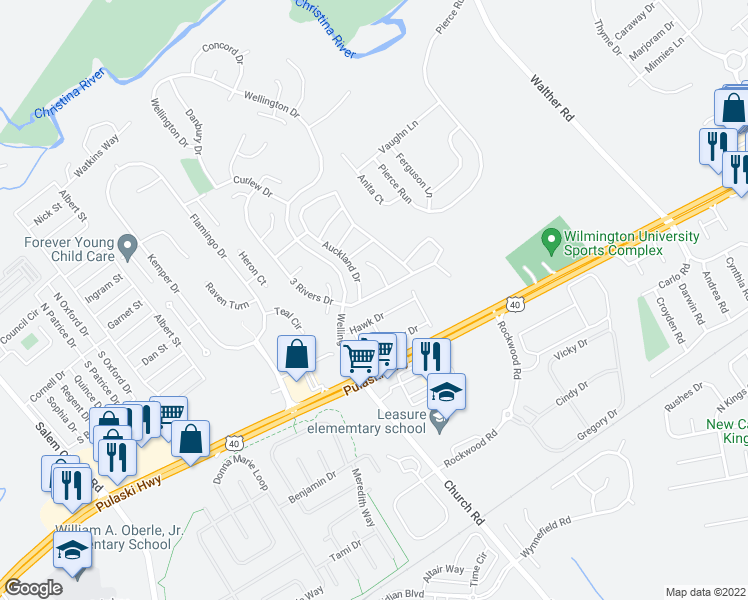map of restaurants, bars, coffee shops, grocery stores, and more near 5 Auckland Drive in Newark