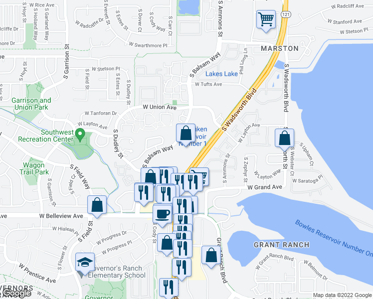 map of restaurants, bars, coffee shops, grocery stores, and more near S Wadsworth Way in Littleton