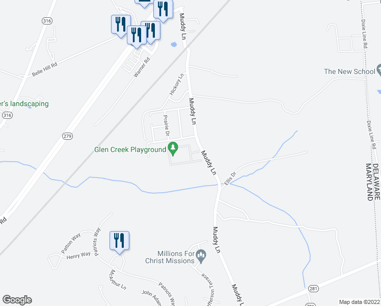map of restaurants, bars, coffee shops, grocery stores, and more near Glen Creek Circle in Elkton