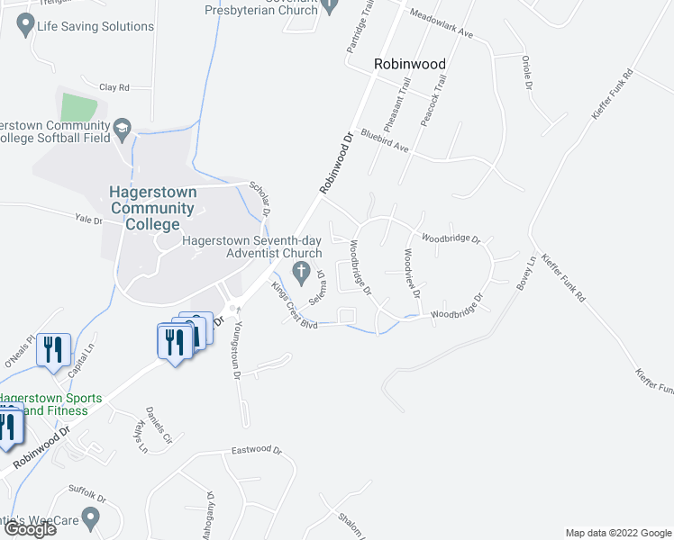 map of restaurants, bars, coffee shops, grocery stores, and more near Fawnbridge Dr in Hagerstown