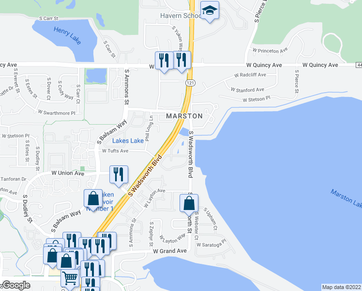 map of restaurants, bars, coffee shops, grocery stores, and more near 4801 S Wadsworth Blvd in Littleton