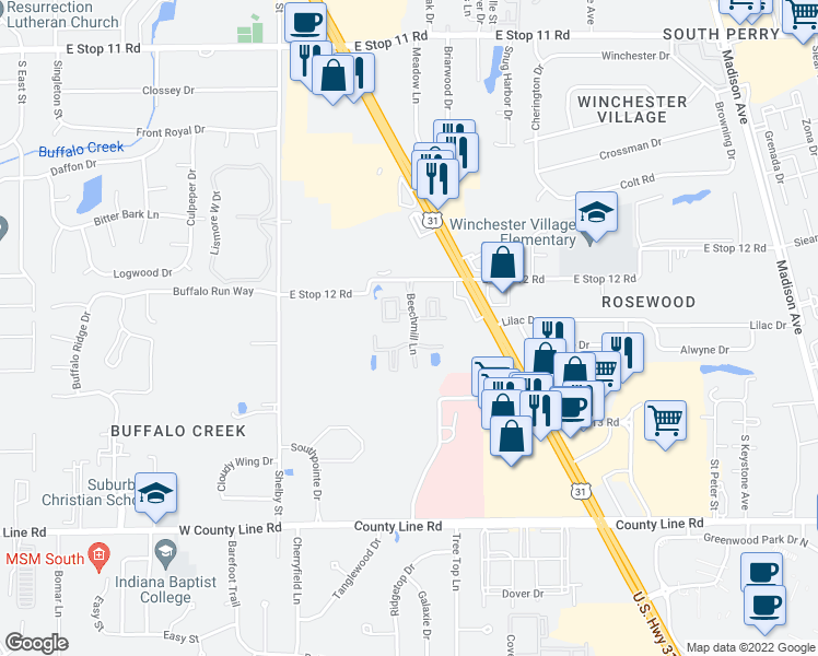 map of restaurants, bars, coffee shops, grocery stores, and more near 8580 Beechmill Ln in Indianapolis