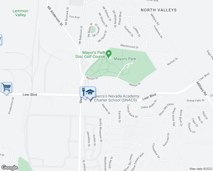 map of restaurants, bars, coffee shops, grocery stores, and more near Zeolite Dr in Reno
